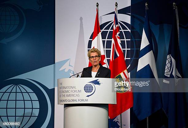 Kathleen Wynne premier of Ontario speaks during the Toronto Global Forum in Toronto Ontario Canada on Wednesday July 8 2015 The Toronto Forum is a...