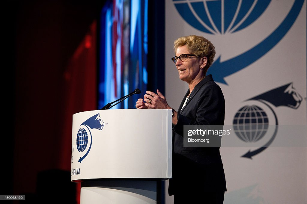 <a gi-track='captionPersonalityLinkClicked' href=/galleries/search?phrase=Kathleen+Wynne&family=editorial&specificpeople=10626599 ng-click='$event.stopPropagation()'>Kathleen Wynne</a>, premier of Ontario, speaks during the Toronto Global Forum in Toronto, Ontario, Canada, on Wednesday, July 8, 2015. The Toronto Forum is a platform to present opportunities for business synergies aimed at long term partnerships in the context of changing dynamics in the global economy. Photographer: Galit Rodan/Bloomberg via Getty Images
