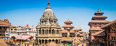 Kathmandu crowds around ancient temples palaces Patan Durbar Square Nepal