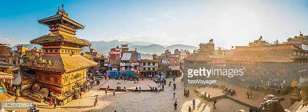 Kathmandu golden sunset light illuminating ancient square temples Bhaktapur Nepal