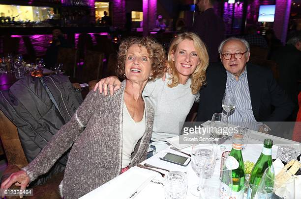 Kathrin Ackermann and her daughter Dr Maria Furtwaengler and Dr Hubert Burda during the 'Gluecklich die Gluecklichen' premiere dinner at H'Ugo's...