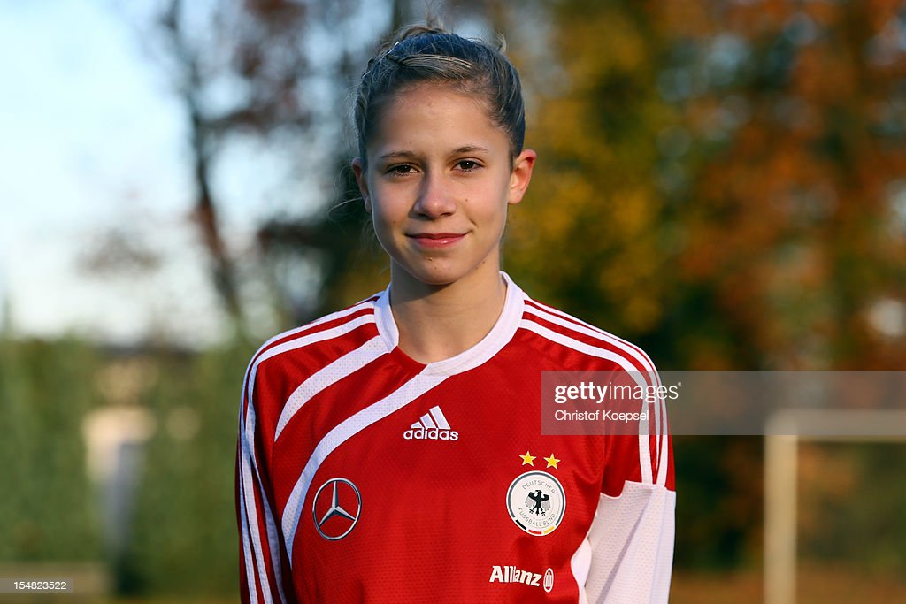 Kathrin Becker poses during the Germany Women's U17 team presentation at Sport School Wedau on October 27, 2012 in Duisburg, Germany.