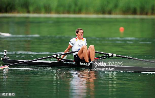 Kathrin Boron of Germany looks dejected after she loses out in the medals in the Womens Single Sculls during the Bearing Point Rowing World Cup Day 3...