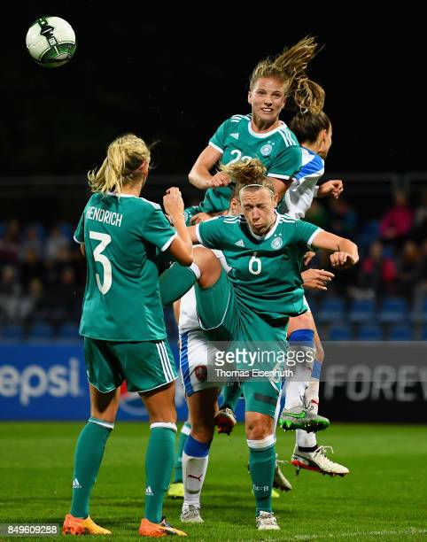 Kathrin Hendrich Kristin Demann and Tabea Kemme of Germany and Lucie Vonkova of the Czech Republic vie for the ball during the 2019 FIFA Women's...