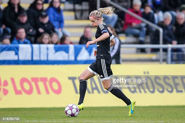 Kathrin Hendrich of Frankfurt controls the ball during the UEFA Women's Champions League quarter final second leg match between 1 FFC Frankfurt and...