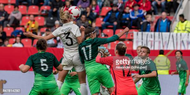 Kathrin Hendrich of Germany scores the third goal for her team during the 2019 FIFA women's World Championship qualifier match between Germany and...