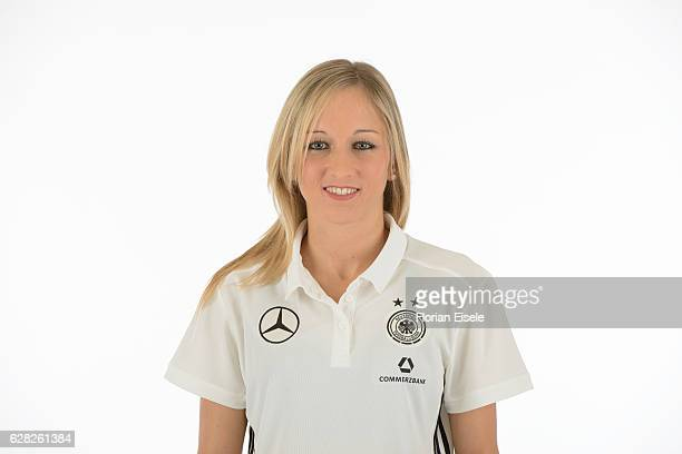 Kathrin Hendrich poses in the new home jersey of the German women's national soccer team on November 25 2016 in Chemnitz Germany