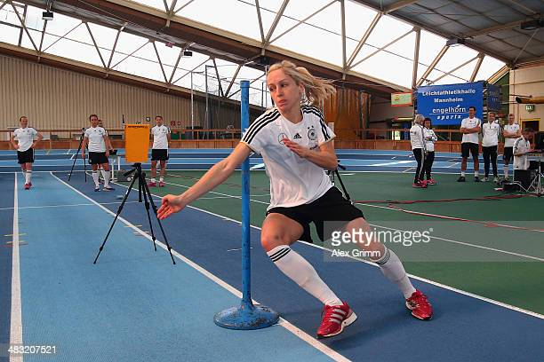 Kathrin Hendrich runs during a Germany women's national team performance test on April 7 2014 in Mannheim Germany