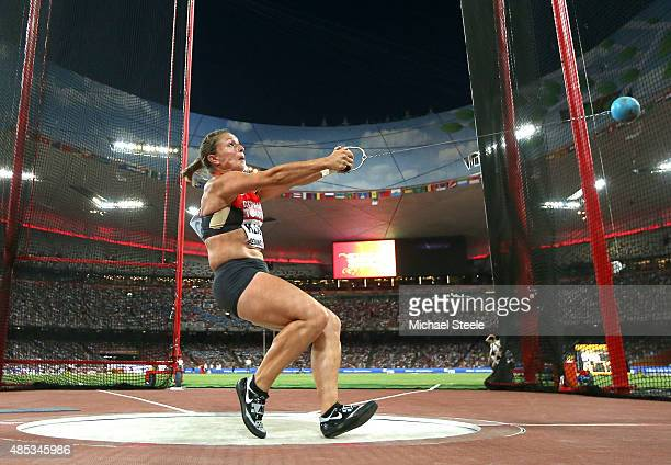 Kathrin Klaas of Germany competes in the Women's Hammer Final during day six of the 15th IAAF World Athletics Championships Beijing 2015 at Beijing...