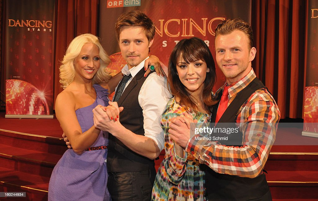 Kathrin Menzinger, Lukas Perman, Marjan Shaki and Willi Gabalier are presented as dance partner at a press conference during the eighth season of TV show 'ORF Dancing Stars 2013' on January 28, 2013 in Vienna, Austria.