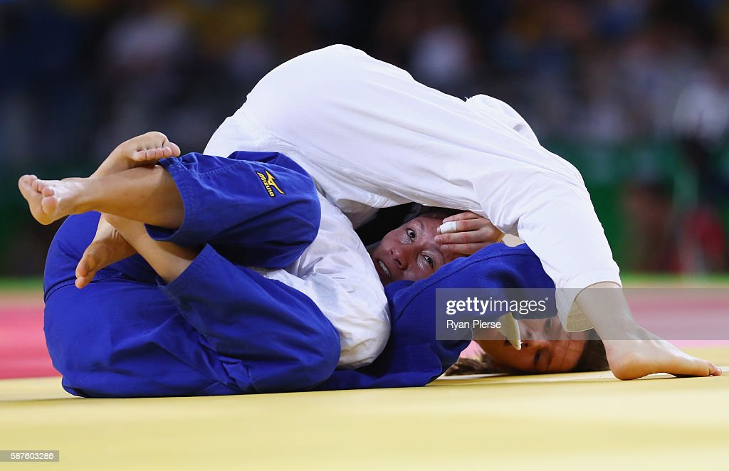 Kathrin Unterwurzacher of Austria and Estefania Garcia of Ecuador compete during the Women's 63kg bout on Day 4 of the Rio 2016 Olympic Games at the...