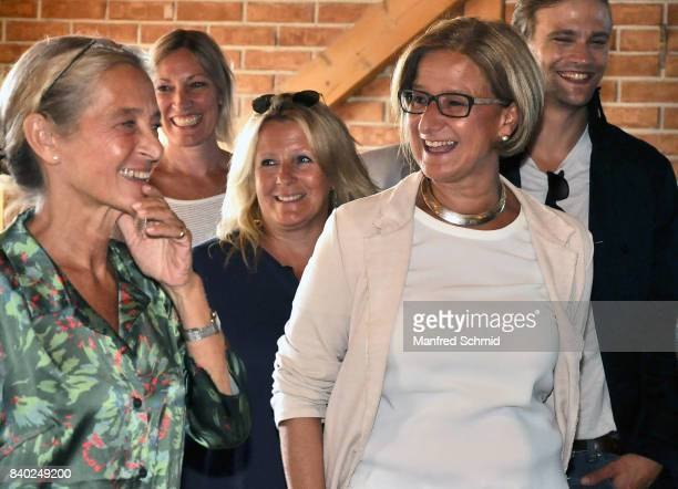 Kathrin Zechner and Johanna MiklLeitner attend a 'Soko Wien' photo call at Heuriger TratWieser on August 28 2017 in Klosterneuburg Austria