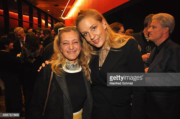 Kathrin Zechner and Lilian Klebow pose for a photograph during the Nestroy Award 2014 at Wiener Stadthalle on November 10 2014 in Vienna Austria