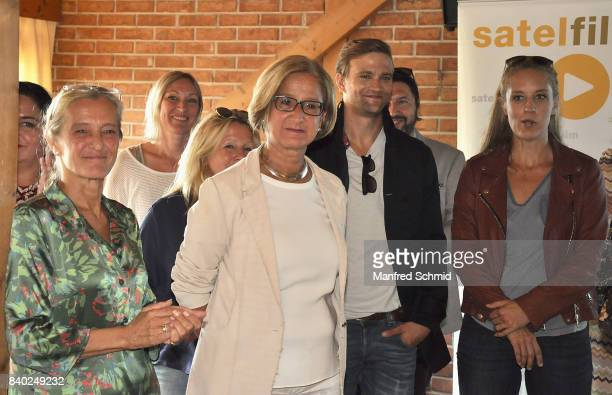 Kathrin Zechner Johanna MiklLeitner Michael Steinocher and Lilian Klebow attend a 'Soko Wien' photo call at Heuriger TratWieser on August 28 2017 in...