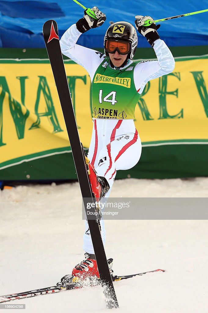 Kathrin Zettel of Austria celebrates as she finishes in second place in the women's giant slalom at the Nature Valley Aspen Winternational Audi FIS Ski World Cup at Aspen Mountain on November 24, 2012 in Aspen, Colorado.