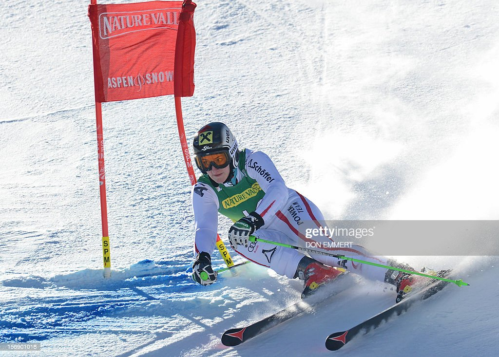 Kathrin Zettel of Austria clears a gate during the first run of the women's World Cup giant slalom in Aspen on November 24, 2012. AFP PHOTO/Don EMMERT