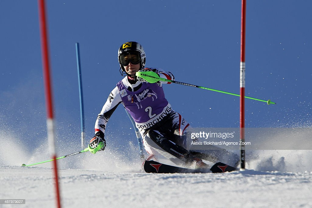 Kathrin Zettel of Austria competes during the Audi FIS Alpine Ski World Cup Women's Slalom on December 17 2013 in Courchevel France