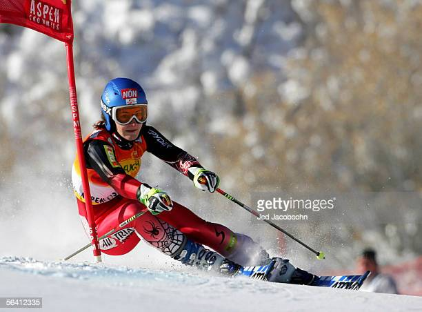 Kathrin Zettel of Austria in action during the World Cup women's Giant Slalom on December 10 2005 in Aspen Colorado Rienda finished first