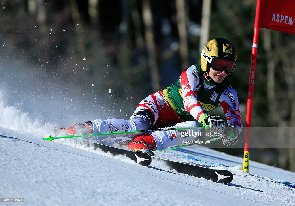 Kathrin Zettel of Austria skis to second place in the the ladies giant slalom during the 2014 Audi FIS Ski World Cup at the Nature Valley Aspen Winternational at Aspen Mountain on November 29, 2014 in Aspen, Colorado.