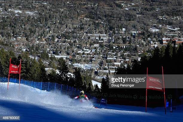Kathrin Zettel of Austria skis to second place in the the ladies giant slalom during the 2014 Audi FIS Ski World Cup at the Nature Valley Aspen...