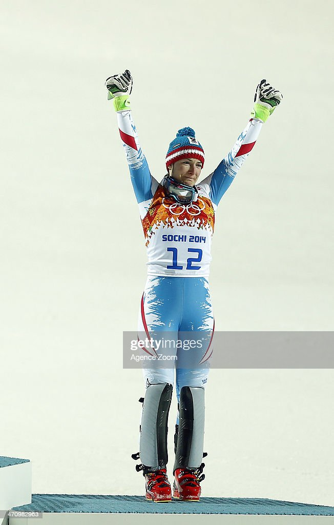 Kathrin Zettel of Austria wins the bronze medal during the Alpine Skiing Women's Slalom at the Sochi 2014 Winter Olympic Games at Rosa Khutor Alpine Centre on February 21, 2014 in Sochi, Russia.