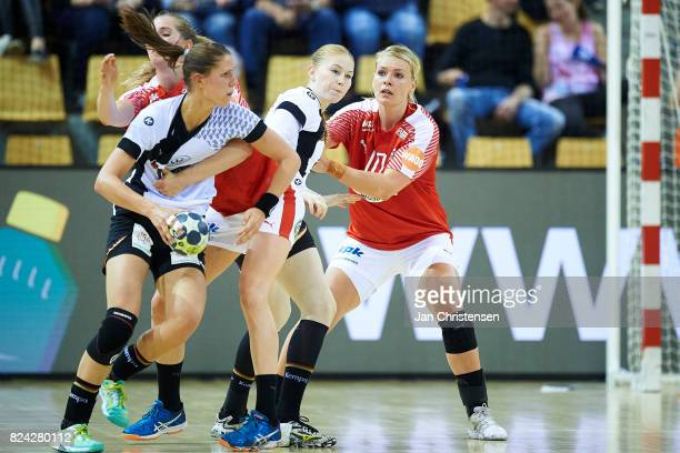 Kathrine Heindahl of Denmark defending during the international friendly match between Denmark and Germany at Ceres Arena on June 08 2017 in Arhus...