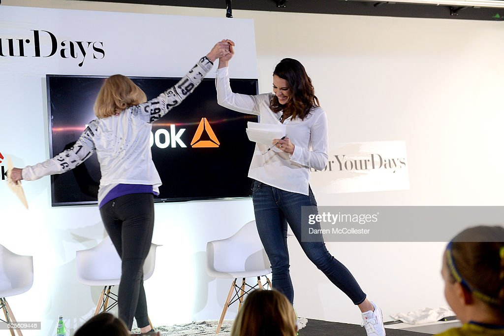 Kathrine Switzer and Jessica Mendoza at REEBOK #HonorYourDays at Reebok Headquarters on April 28, 2016 in Canton, Massachusetts.