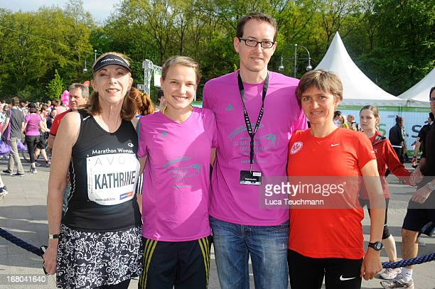 Kathrine Switzer Lisa Hahner Mark Milde and Irina Mikitenko attend the 30th AVON Running Women's run in Tiergarten park on May 4 in Berlin Germany