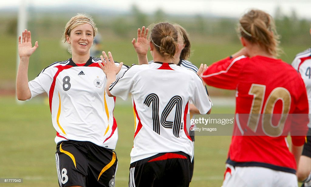 Kathrine-Julia Hendrich celebrates a goal with Ramona Petzelberger of Germany during the U16 Nordic Cup match between Norway and Germany at the Hvolsvollur stadium on June 30, 2008 in Hvolsvoellur, Iceland.