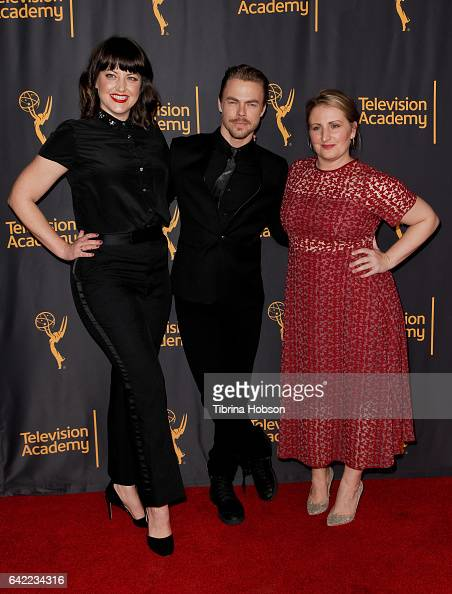 Kathryn Burns Derek Hough and Mandy Moore attend Television Academy's 'Whose Dance Is It Anyway' celebration at Saban Media Center on February 16...