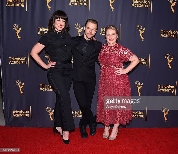 Kathryn Burns Derek Hough and Mandy Moore attend the Television Academy's 'Whose Dance Is It Anyway' at Saban Media Center on February 16 2017 in...