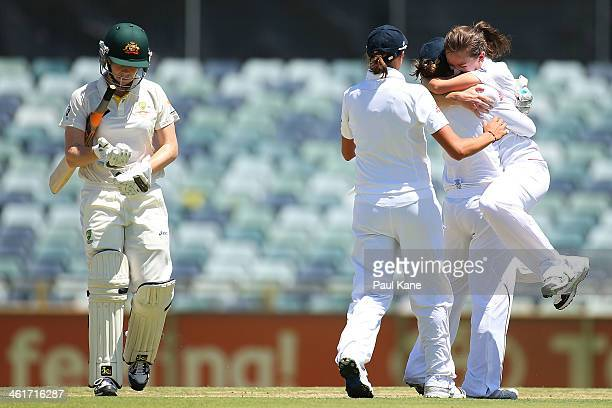 Kathryn Cross of England celebrates after dismissing Alex Blackwell of Australia during day two of the Women's Ashes Test match between Australia and...