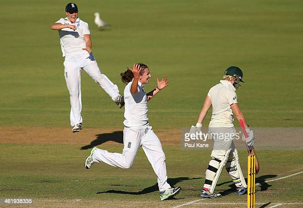 Kathryn Cross of England celebrates dismissing Jess Cameron of Australia during day three of the Women's Ashes Test match between Australia and...