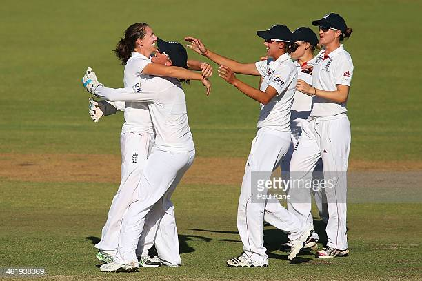 Kathryn Cross of England celebrates dismissing Meg Lanning of Australia during day three of the Women's Ashes Test match between Australia and...