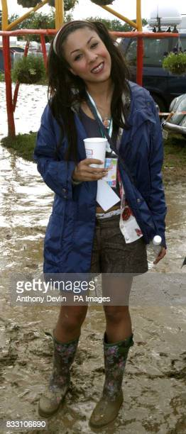 Kathryn Drysdale from the TV show Two Pints of Lager is seen backstage at the 2007 Glastonbury Festival at Worthy Farm in Pilton Somerset