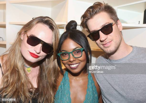 Kathryn Gallagher Adrienne Warren and Rafael Casal pose at the Native Ken Eyewear NYC Launch Party at Native Ken on July 20 2017 in New York City