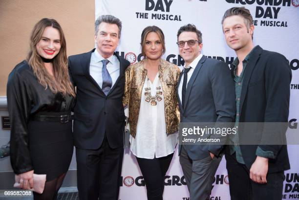 Kathryn Gallagher Peter Gallagher Mariska Hargitay Raul Esparza and Peter Scanavino attend 'Groundhog Day' opening night at August Wilson Theatre on...