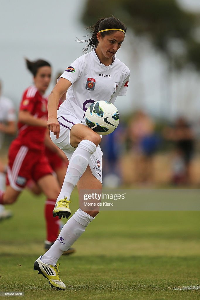 Kathryn Gill of Perth wins the ball in front of goal during the round 12 W-League match between Adelaide United and the Perth Glory at Burton Park on January 12, 2013 in Adelaide, Australia.