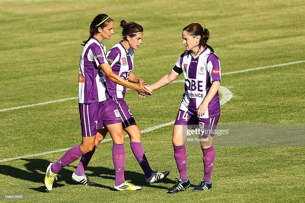 Kathryn Gill of the Glory is congratulated after scoring a goal during the round 11 W-League match between the Perth Glory and the Newcastle Jets at Intiga Stadium on January 5, 2013 in Perth, Australia.