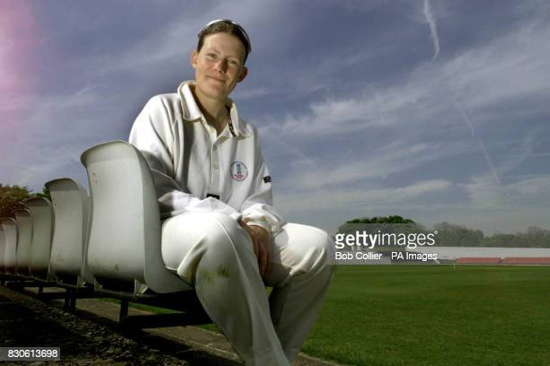 Kathryn Leng of the Bradford Leeds University centre of excellence cricket team who played in the second day of her first match against Loughborough...