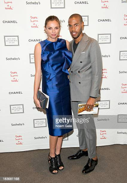 Kathryn Neale and Charles Harbinson attend 2013 'Take Home A Nude' Benefit Art Auction And Party at Sotheby's on October 8 2013 in New York City