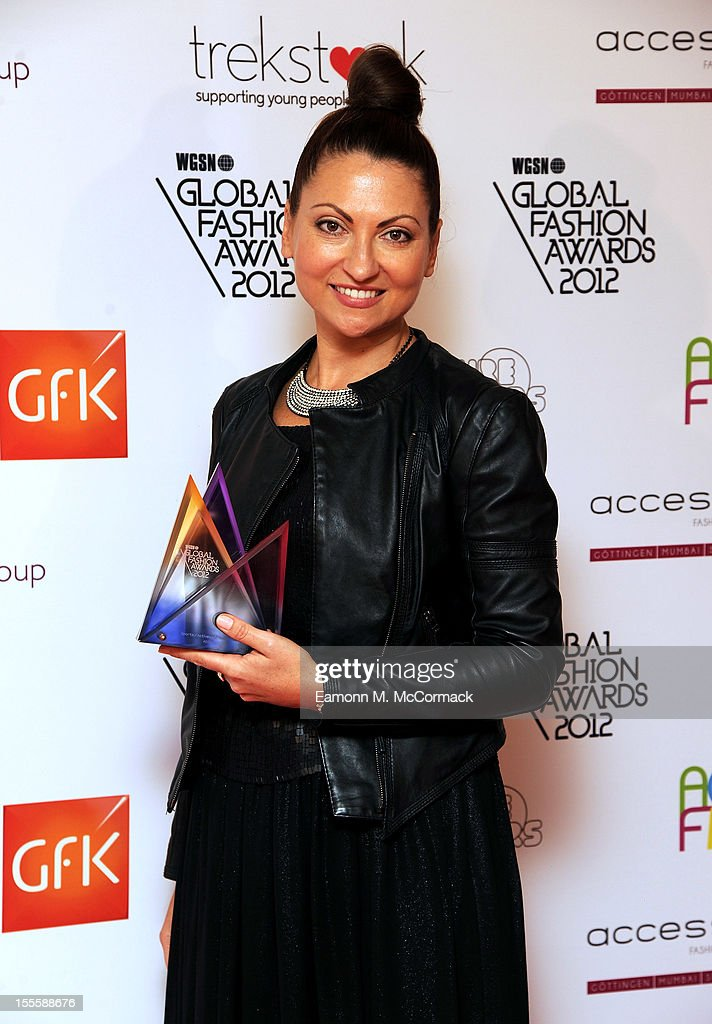 Kathryn O'Brian of Adidas with her Sports Activewear Design Team award during the WGSN Global Fashion Awards at The Savoy Hotel on November 5, 2012 in London, England.