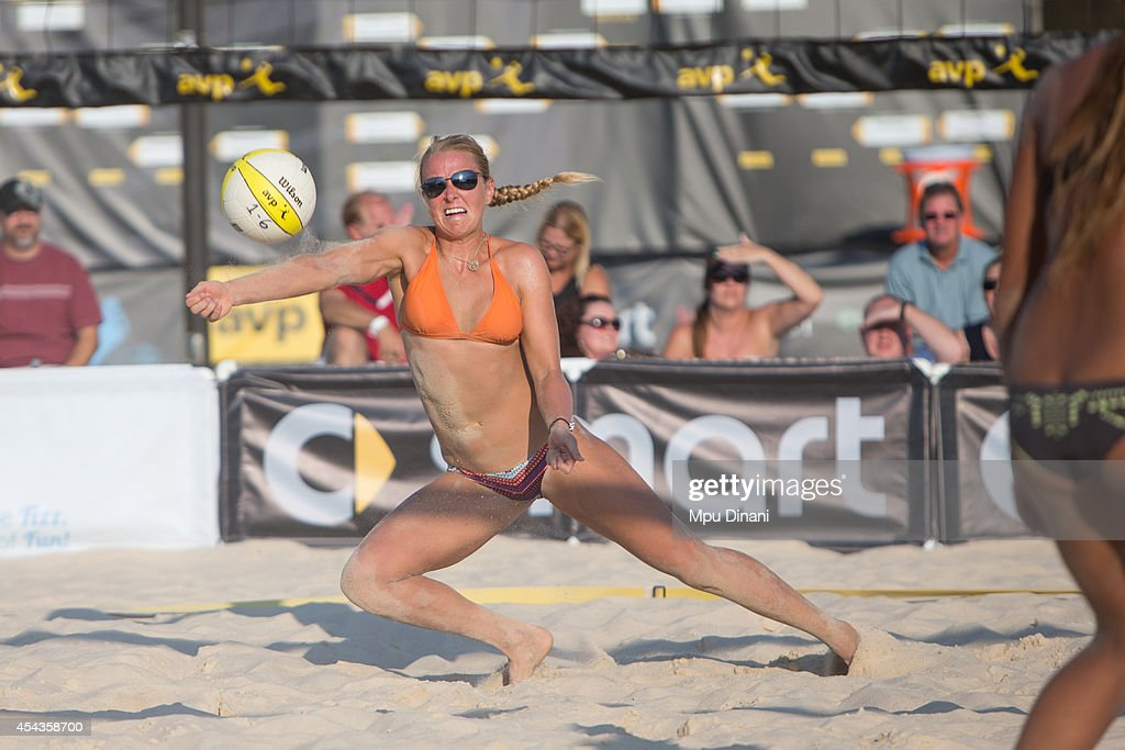 Kathryn Piening digs the ball at the 2014 AVP Cincinnati Open on August 29, 2014 at the Lindner Family Tennis Center in Cincinnati, Ohio.