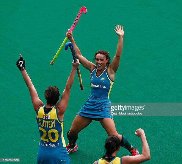 Kathryn Slattery of Australia celebrates scoring a goal against the Netherlands during the Fintro Hockey World League SemiFinal match between...