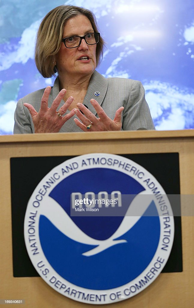 Kathryn Sullivan, Director National Oceanic and Atmospheric Administration (NOAA), gives the 2013 Atlantic hurricane season outlook during a news conference at NOAA headequarters May 23, 2013 in College Park, Maryland. NOAA Atlantic Hurricane Season Outlook predicts there is a 70 percent likelihood of 13 to 20 named storms of which 7 to 11 could become hurricanes including 3 to 6 major hurricanes.