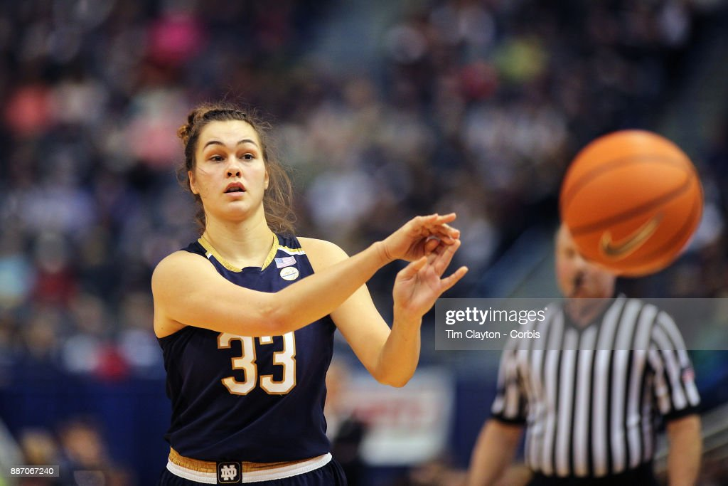 Kathryn Westbeld #33 of the Notre Dame Fighting Irish in action during the the UConn Huskies Vs Notre Dame, NCAA Women's Basketball game at the XL Center, Hartford, Connecticut. December 3, 2017