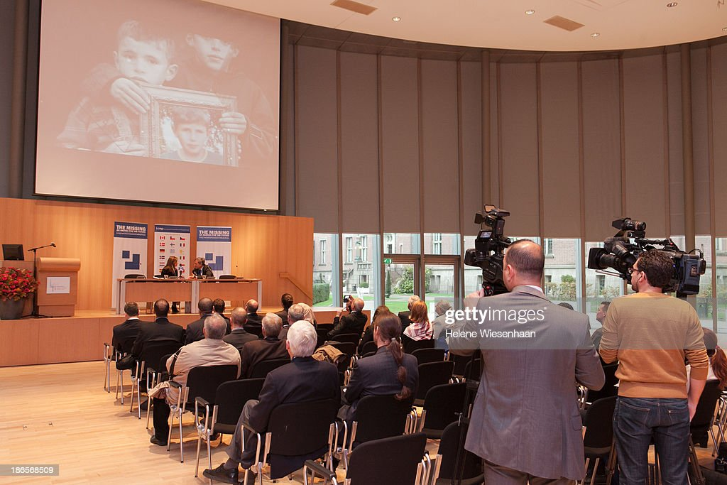 Kathryne Bomberger and Thomas Miller speak at the pressconference during the International Commission on Missing Persons convention on day 4 in the...