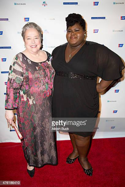 Kathy Bates and Gabourey Sidibe attend American Cancer Society's Birthday Ball at The Beverly Hilton Hotel on June 6 2015 in Beverly Hills California