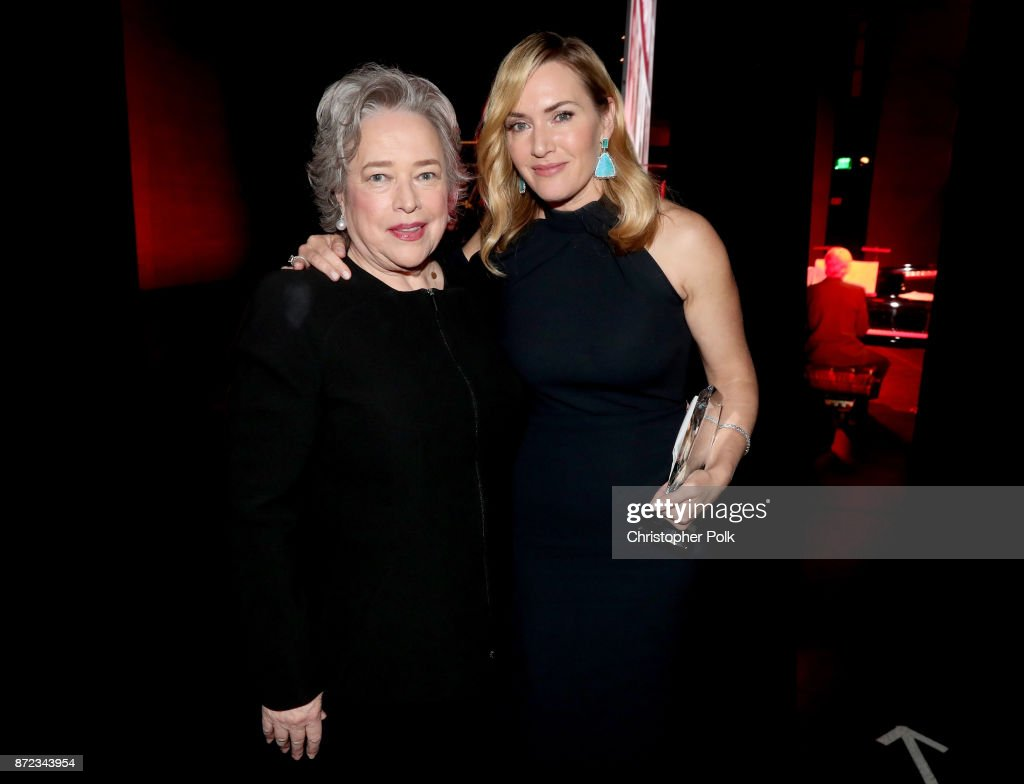 Kathy Bates (L) and Honoree Kate Winslet attend the SAG-AFTRA Foundation Patron of the Artists Awards 2017 at the Wallis Annenberg Center for the Performing Arts on November 9, 2017 in Beverly Hills, California.