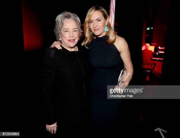 Kathy Bates and Honoree Kate Winslet attend the SAGAFTRA Foundation Patron of the Artists Awards 2017 at the Wallis Annenberg Center for the...
